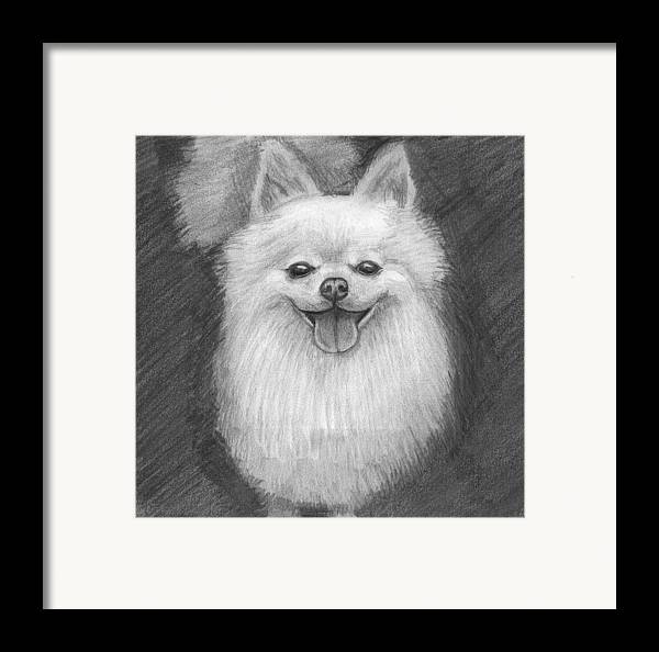 Dog Framed Print featuring the drawing A Doggie 4 Xmas by Katie Alfonsi