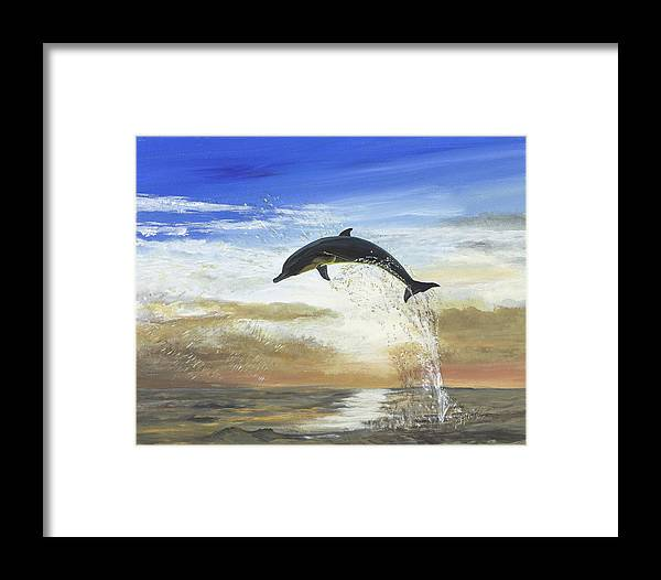 Dolphin Framed Print featuring the painting A Dolphin's Life by Donna Mann