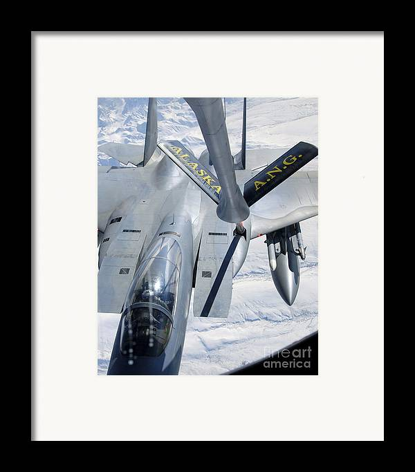 Adults Only Framed Print featuring the photograph A F-15 Eagle Refuels Behind A Kc-135 by Stocktrek Images