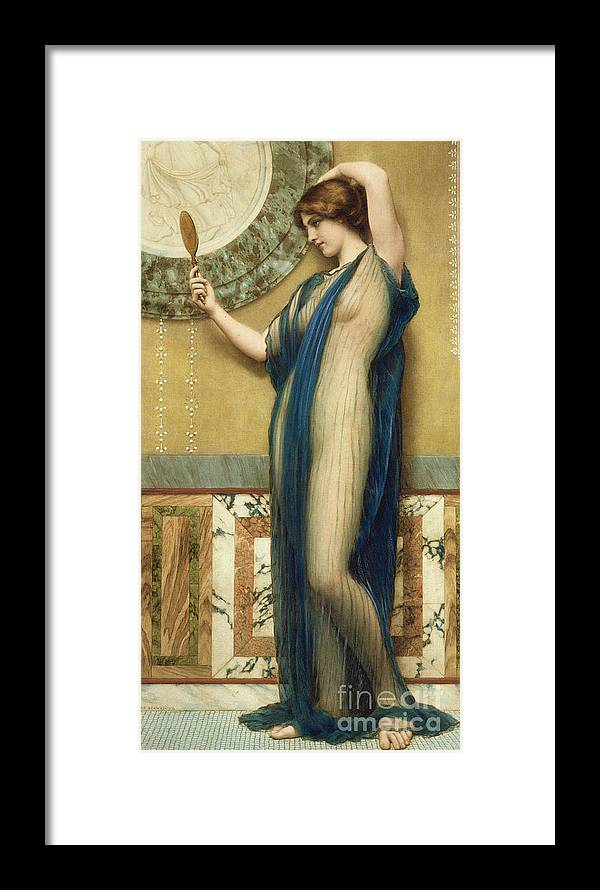 A Fair Reflection (hand Colored Photo-engraving) By John William Godward (1861-1922) (after) Mirror; Marble; Nude; Looking Glass; Female; Classical; Vain Framed Print featuring the painting A Fair Reflection by John William Godward