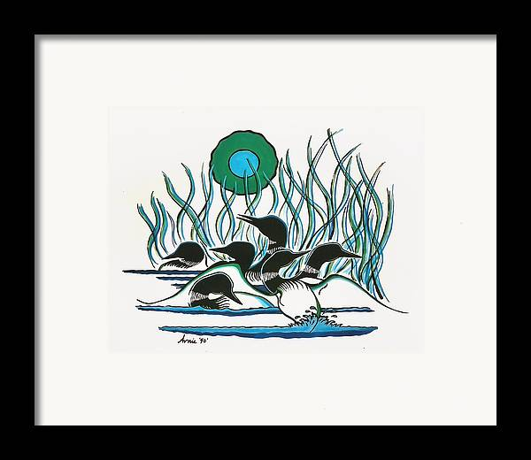 Loons Framed Print featuring the painting A Family Of Loons by Arnold Isbister