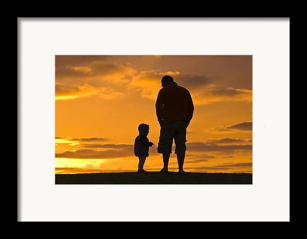 Outdoors Framed Print featuring the photograph A Father And His Baby Son Watch by Jason Edwards
