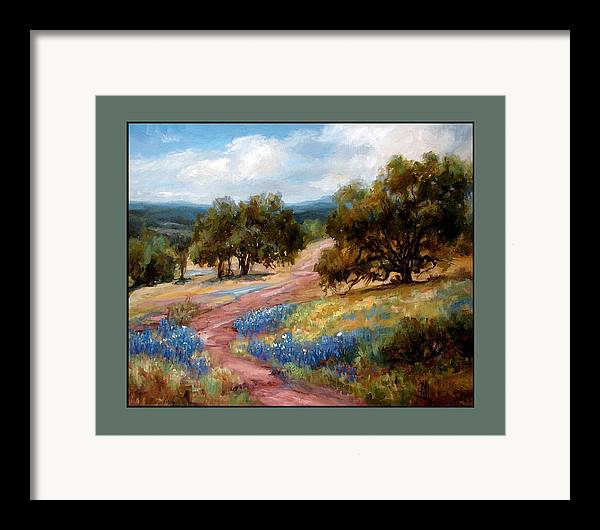 Texas Landscape Hill Country Bluebonnets Framed Print featuring the painting A Few Bluebonnets by Lilli Pell