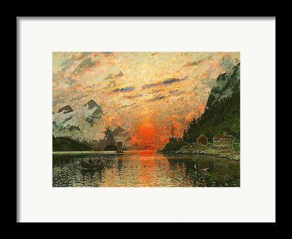 Scandinavia Framed Print featuring the painting A Fjord by Adelsteen Normann