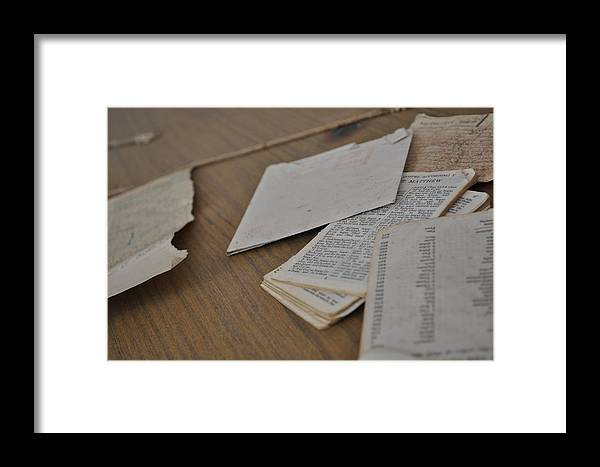 Bible Matthew Gospel Paper According Pages Framed Print featuring the photograph A Forgotten Text by Jason Lee