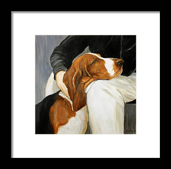 Basset Framed Print featuring the painting A Friend Indeed by Charlotte Yealey