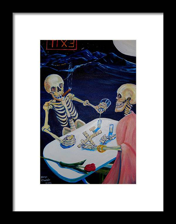 Dia De Los Muertos Framed Print featuring the painting A Friendly Game Of Bones by George Chacon