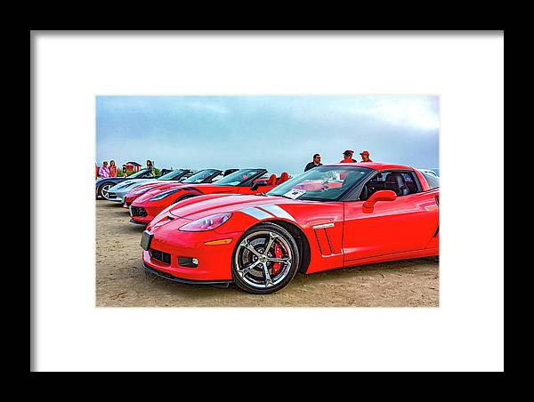Auto Framed Print featuring the photograph A Gaggle Of Vettes by Steve Harrington