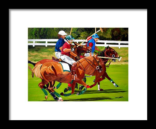 Polo Framed Print featuring the painting A Game Of Polo by Michael Lee
