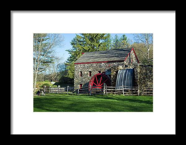 Wayside Inn Sudbury Grist Mill Water Waterwheel Wheel River Stream Sky Trees Grass Reflection Ma Mass Massachusetts New England Newengland U.s.a. Usa Brian Hale Brianhalephoto Nature Natural Outside Outdoors Clouds Long Exposure Waterfall Falls Stone Wall Architecture Building Girl Dog Framed Print featuring the photograph A Girl And Her Dog by Brian Hale