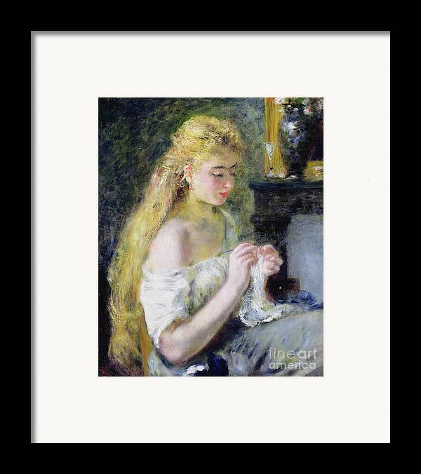 Pierre Auguste Renoir Framed Print featuring the painting A Girl Crocheting by Pierre Auguste Renoir