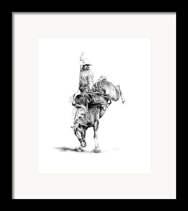 Rodeo Scene Framed Print featuring the drawing A Good Ride by Karen Elkan