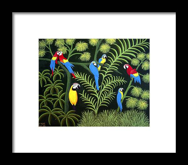 Macaws Framed Print featuring the painting A Group Of Macaws by Frederic Kohli