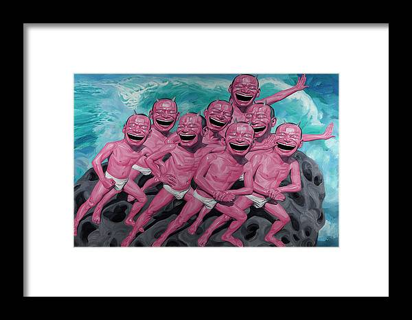 People Framed Print featuring the painting A Group Of People Laugh by Yue Minjun