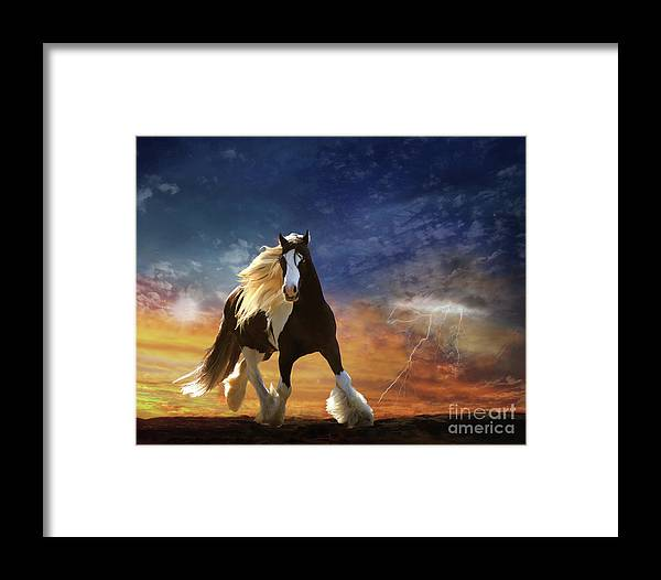 Sunset Framed Print featuring the digital art A Gypsy Storm by Melinda Hughes-Berland