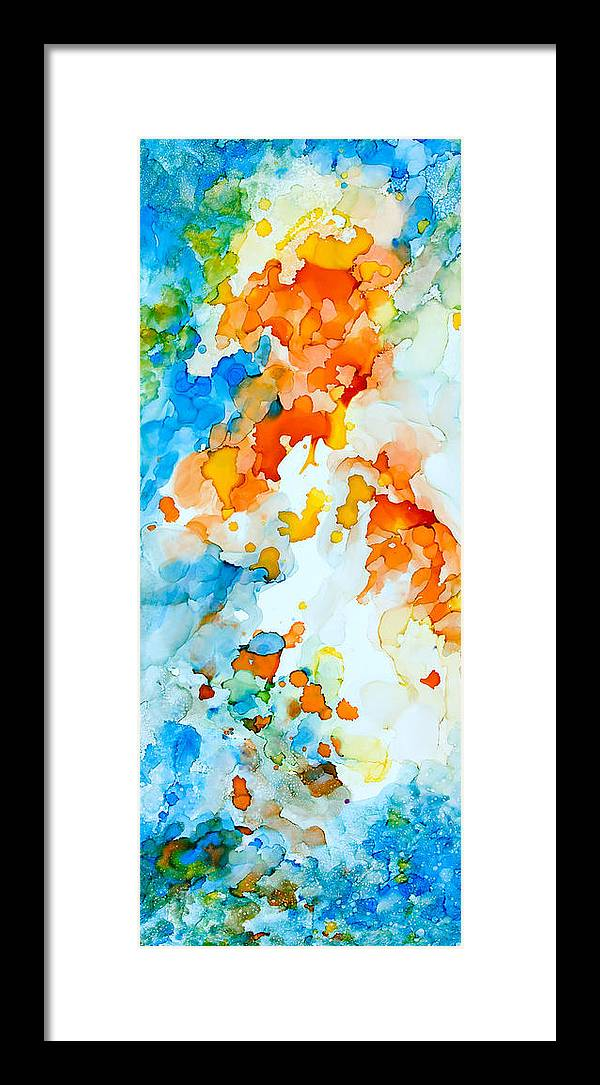 Abstract Framed Print featuring the painting A Happy Place - A by Sandy Sandy