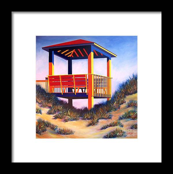 Cheerful Beach Scene Painted In Acrylic On Gallery Wrap Canvas Framed Print featuring the painting A Happy Place by Hugh Harris