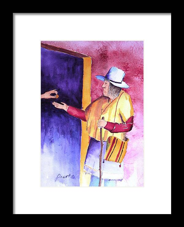 Oldman Framed Print featuring the painting A Helping Hand by Buster Dight