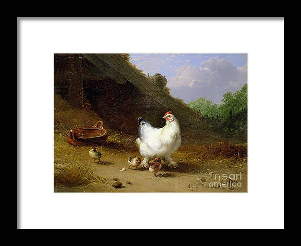 Hen Framed Print featuring the photograph A Hen With Her Chicks by Eugene Joseph Verboeckhoven