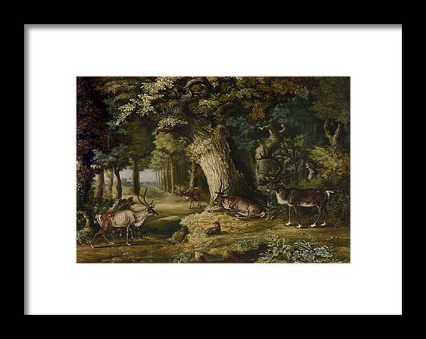 Manner Of Johann Melchior Roos (1663-1731) A Herd Of Stag And A Fawn In A Woodland Landscape Framed Print featuring the painting A Herd Of Stag And A Fawn In A Woodland Landscape by Johann Melchior