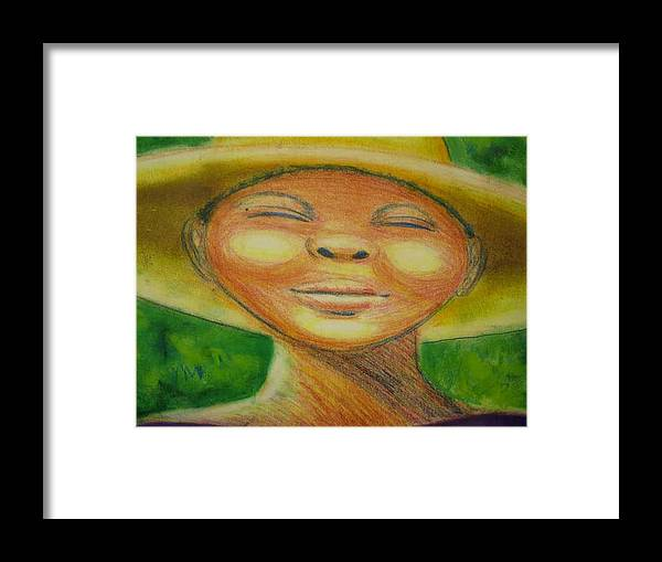 Drawing Framed Print featuring the drawing A Hot Summer Day by Jan Gilmore
