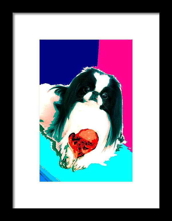 A Japanese Chin And His Toy Framed Print featuring the digital art A Japanese Chin And His Toy by Kathleen Sepulveda