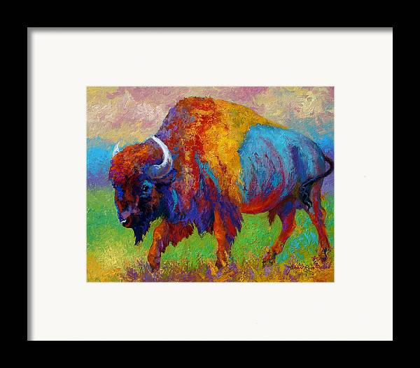 Wildlife Framed Print featuring the painting A Journey Still Unknown - Bison by Marion Rose