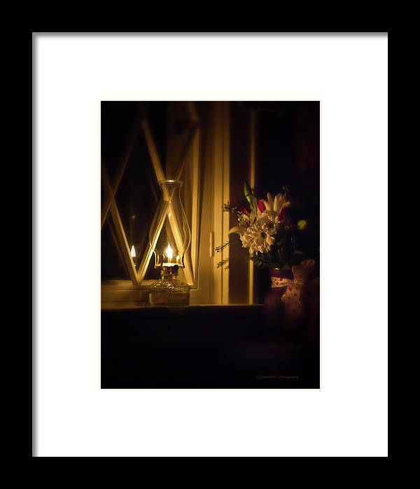 Oil Lamp Framed Print featuring the photograph A Lamp In The Window For My Love by Straublund Photography
