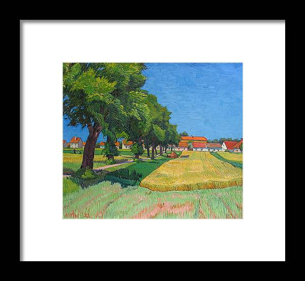 Red Roofs Framed Print featuring the painting A lane with blossoming lindens by Vitali Komarov