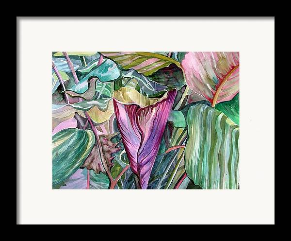 Garden Framed Print featuring the painting A Light In The Garden by Mindy Newman