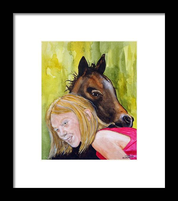 Equine Framed Print featuring the painting A Little Girl's Fancy by Jean Blackmer