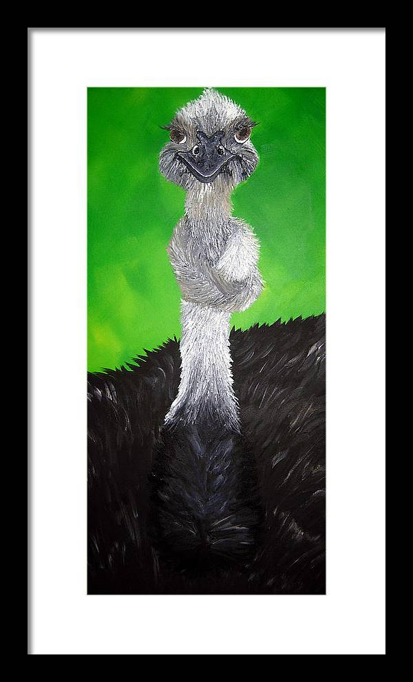 Ostrich Framed Print featuring the painting A Little Tied Up by Sharon Supplee