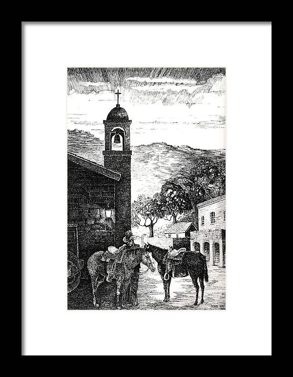 Western Art Texas New Mexico Arizona Cowboys Horses Mountains Southwest Landscape Framed Print featuring the drawing A Long Day Ahead by Donn Kay