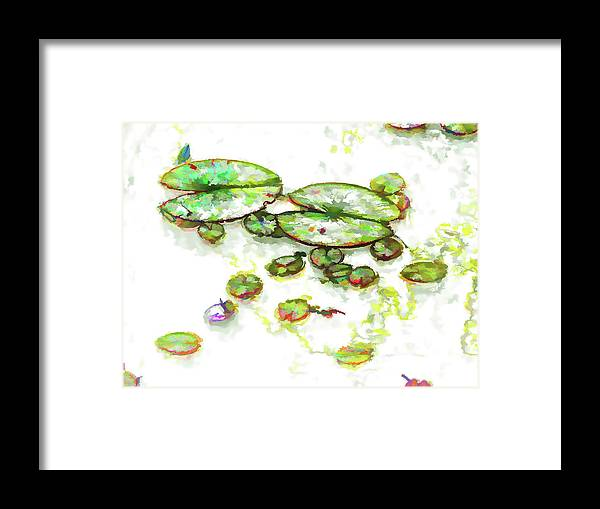 A Lotus Leaf Framed Print featuring the painting A Lotus Leaf by Jeelan Clark
