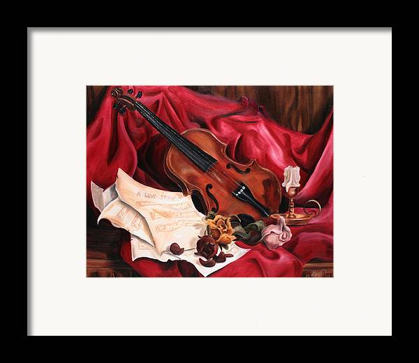 Violin Framed Print featuring the painting A Love Story by Maryn Crawford