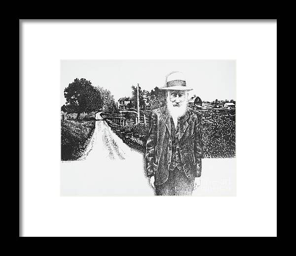 Old Man Framed Print featuring the drawing A Man And His Farm by Don Locke