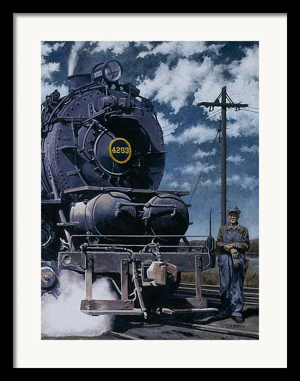 Trains Framed Print featuring the painting A Man And His Machine by David Mittner