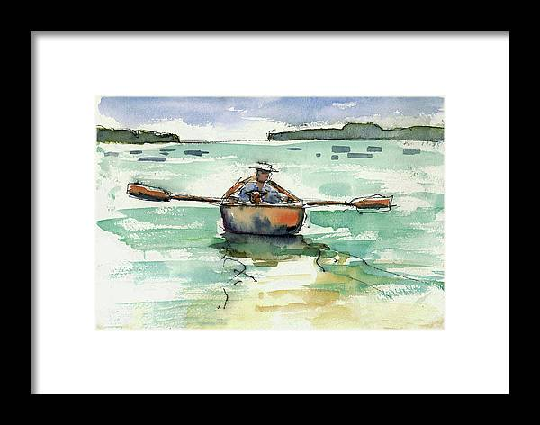 Landscape Framed Print featuring the painting A Boat, A Man And His Dog by Mary Byrom