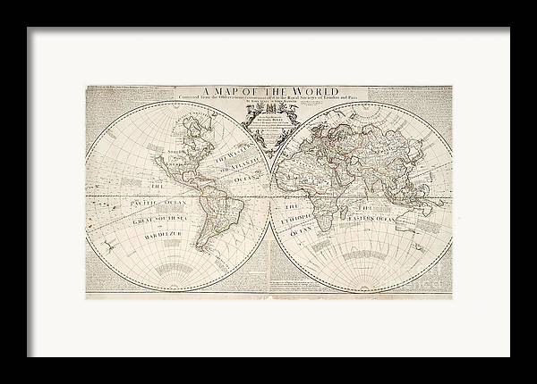 Map Framed Print featuring the painting A Map Of The World by John Senex