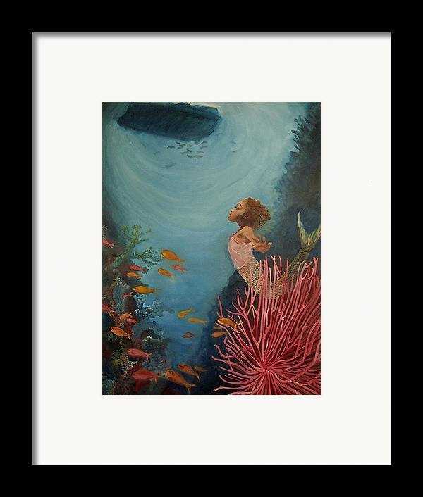 Mermaids Framed Print featuring the painting A Mermaid's Journey by Amira Najah Whitfield