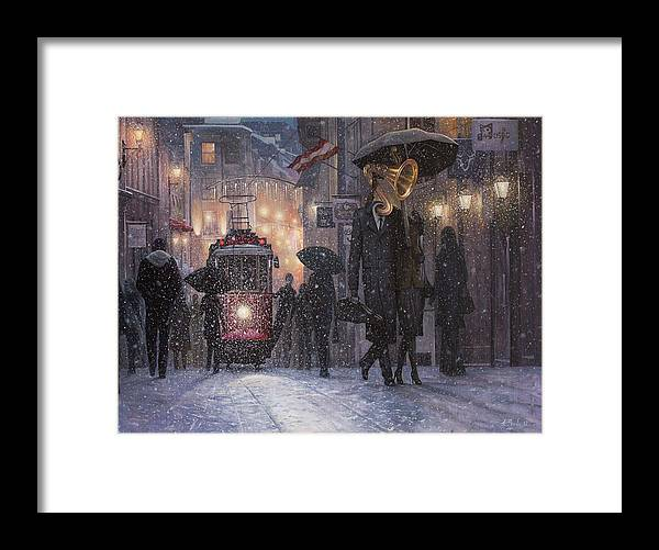 Music Framed Print featuring the painting A Midwinter Night's Dream by Adrian Borda