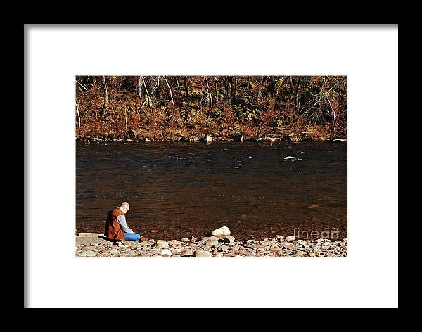 Person Framed Print featuring the photograph A Moment By The Water by Lori Tambakis