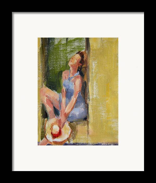Figurative Framed Print featuring the painting A Moment In The Sun by Merle Keller