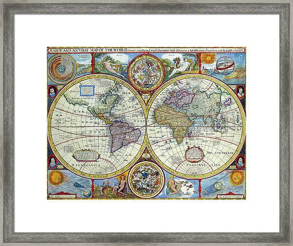 A New And Accvrat Map Of The World 1626.A New And Accvrat Map Of The World 1626 Framed Print By R Muirhead Art