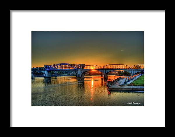 Reid Callaway Sunrise On The Market Street Bridge Framed Print featuring the photograph A New Day Chattanooga Sunrise Market Street Bridge by Reid Callaway