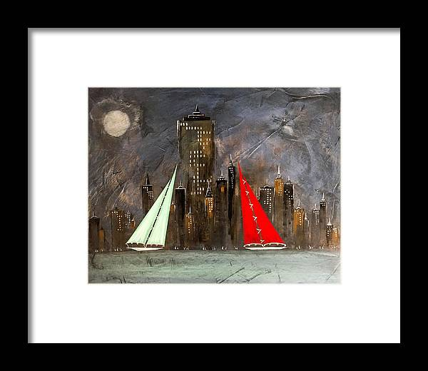 New York Framed Print featuring the painting A New York Sail by Barry Knauff