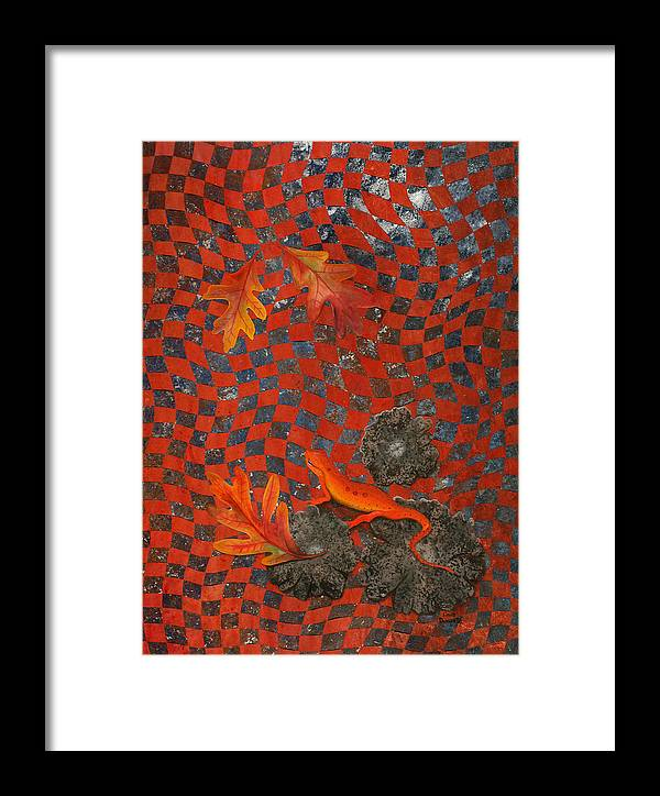 Oak Leave Framed Print featuring the painting A Newt Day by Linda L Doucette
