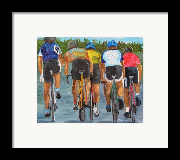 Cycling Framed Print featuring the painting A Nice Day For A Ride by Michael Lee