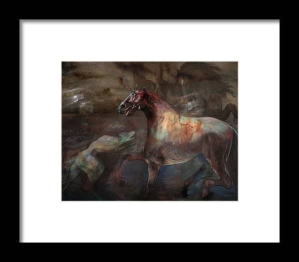 Horse Framed Print featuring the digital art A Nightmare by Henriette Tuer lund