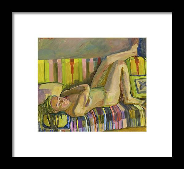 Nude Art Framed Print featuring the painting A Nude Lying Legs Up by Yana Poklad